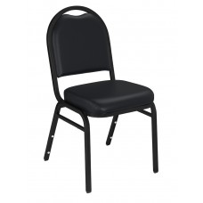 Panther Black Dome Vinyl Upholstered Padded Stack Chairs Black Sandtex Frame