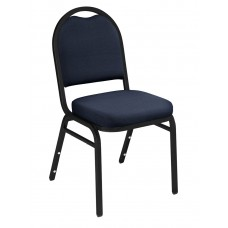 Midnight Blue Fabric Upholstered Padded Stack Chairs Black Sandtex Frame