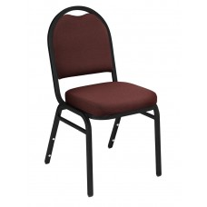 Rich Maroon Fabric Upholstered Padded Stack Chairs Black Sandtex Frame