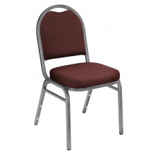 Rich Maroon Fabric Upholstered Padded Stack Chairs Silvervein Frame