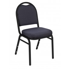 Diamond Navy Dome Fabric  Upholstered Padded Pattern Stack Chairs Black Sandtex Frame
