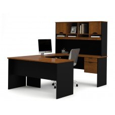 Innova U-shaped workstation in Tuscany Brown & Black