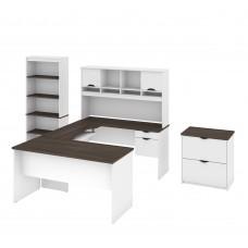 Innova U-shaped desk with accessories in White and Antigua