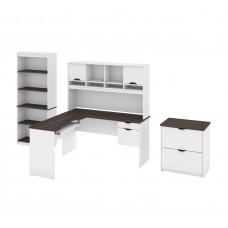 Innova L-shaped desk with accessories in White and Antigua