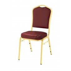 Pleasant Burgundy  Silhouette Fabric Padded Upholstered Stack Chairs Gold Frame