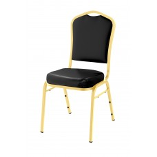 Panther Black Silhouette Fabric Padded Upholstered Stack Chairs Gold Frame