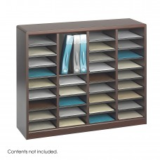 E-Z Stor® Wood Literature Organizer, 36 Compartments - Mahogany