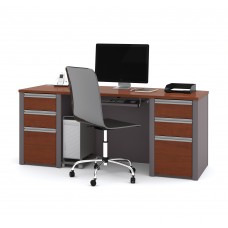 Connexion Bowfront Desk Shell with pedestals in Bordeaux & Slate