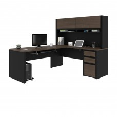 Connexion L-shaped workstation with hutch in Antigua & Black
