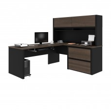 Connexion L-shaped workstation in Antigua & Black