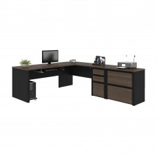 Connexion L-shaped workstation with lateral file in Antigua & Black