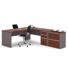 Connexion L-shaped workstation with lateral file in Bordeaux & Slate