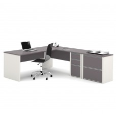 Connexion L-shaped workstation with lateral file in Slate & Sandstone