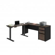 Connexion Height Adjustable L-Desk in Antigua & Black