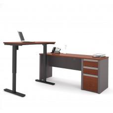 Connexion Height Adjustable L-Desk in Bordeaux & Slate