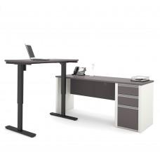 Connexion Height Adjustable L-Desk in Slate & Sandstone