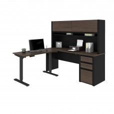 Connexion Height Adjustable L-Desk with Hutch in Antigua & Black