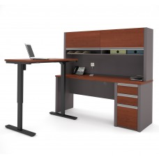Connexion Height Adjustable L-Desk with Hutch in Bordeaux & Slate