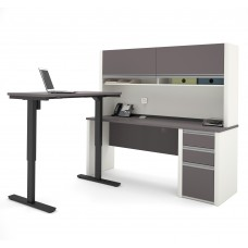 Connexion Height Adjustable L-Desk with Hutch in Slate & Sandstone