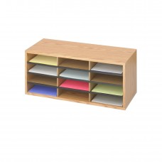 Wood/Corrugated Literature Organizer, 12 - Medium Oak