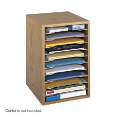 Vertical Desk Top Sorter - 11 Compartment - Oak