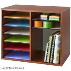Wood Adjustable Literature Organizer - 12 Compartment - Gray