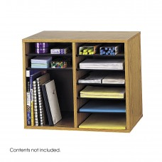 Wood Adjustable Literature Organizer - 12 Compartment - Oak