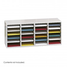 Wood Adjustable Literature Organizer, 24 Compartment - Gray