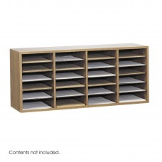 Wood Adjustable Literature Organizer, 24 Compartment - Oak