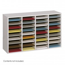 Wood Adjustable Literature Organizer, 36 Compartment - Gray