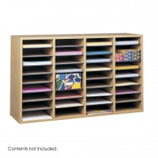 Wood Adjustable Literature Organizer, 36 Compartment - Oak