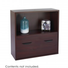 Apres™ Modular Storage Shelf with Lower File Drawer - Mahogany