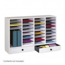 Wood Adjustable Literature Organizer, 32 Compartment w. Drawer - Gray