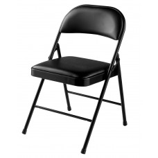 Black Vinyl Upholstered Commercialine Folding Chairs Carton of 4