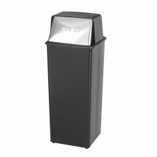 Reflections By Safco® Push Top Receptacle, 21-Gallon - Black/Steel