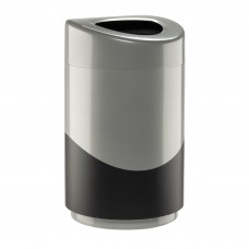 Safco Products Open Top Trash Receptacle with Liner 9920SLBL Silver & Black
