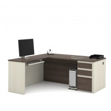 Prestige + L-shaped workstation including one pedestal in White Chocolate & Antigua