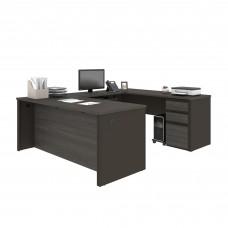 Prestige + U-shaped workstation including one pedestal in Bark Gray & Slate