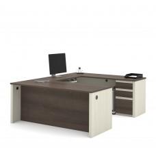 Prestige + U-shaped workstation including one pedestal in White Chocolate & Antigua