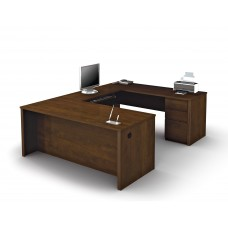 Prestige + U-shaped workstation including one pedestal in Chocolate