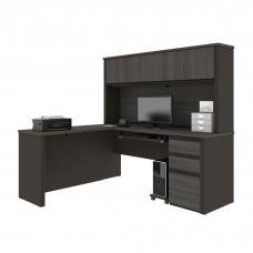 Prestige + L-shaped workstation including one pedestal in Bark Gray & Slate