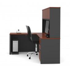 Prestige + L-shaped workstation including one pedestal in Bordeaux & Graphite