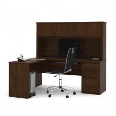 Prestige + L-shaped workstation including one pedestal in Chocolate