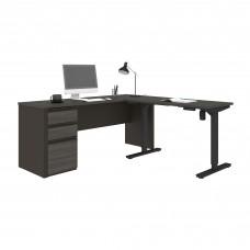 Prestige + Height Adjustable L-Desk in Bark Gray & Slate