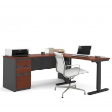 Prestige + Height Adjustable L-Desk in Bordeaux & Graphite
