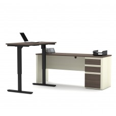 Prestige + Height Adjustable L-Desk in White Chocolate & Antigua