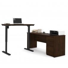 Prestige + Height Adjustable L-Desk in Chocolate