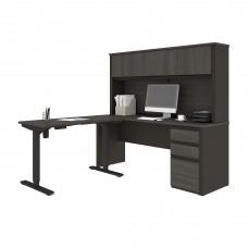 Prestige + Height Adjustable L-Desk with Hutch in Bark Gray & Slate