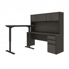 Prestige + Height Adjustable L-Desk with Hutch in Bordeaux & Graphite