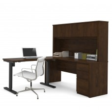 Prestige + Height Adjustable L-Desk with Hutch in Chocolate
